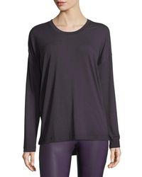 Onzie - Purple Braid-back Long-sleeve Performance Top - Lyst