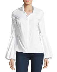 Caroline Constas White Jacqueline Button-front Poplin Shirt