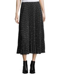 Vince Black Ditsy-floral Pleated Maxi Skirt