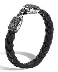 John Hardy - Black Men's Legends Batu Leather Eagle Bracelet for Men - Lyst