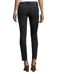 True Religion Black Halle Embellished Mid-rise Super Skinny Jeans