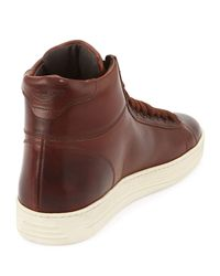 Tom Ford - Brown Russel Calfskin High-Top Sneakers for Men - Lyst