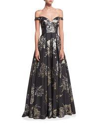 Jovani - Black Sweetheart Off-the-shoulder Metallic Brocade Evening Gown - Lyst