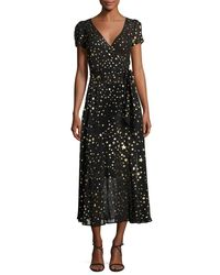 RED Valentino Black V-neck Short-sleeve Georgette Wrap Dress