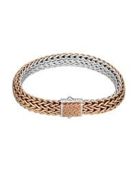 John Hardy Metallic Bronze/silver Reversible Woven Chain Bracelet for men