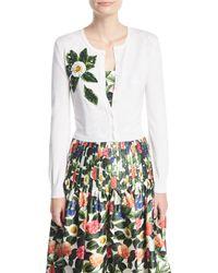 Oscar de la Renta - White Button-front Wool Cardigan W/ Beaded Floral Detail - Lyst