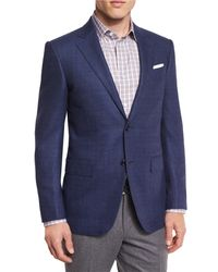 Ermenegildo Zegna Blue Tic Wool Two-button Sport Coat for men
