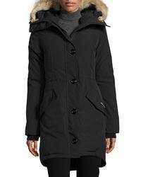 Canada Goose - Black Rossclair Fur-trim Hooded Down Parka - Lyst