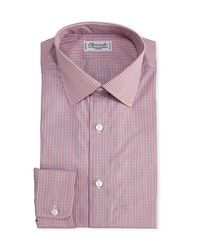 Charvet Red Mini-check Cotton Dress Shirt for men
