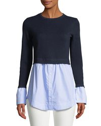 Club Monaco Blue Berdine Contrast Long-sleeve Sweater