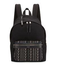 Saint Laurent Black Men's Nylon Backpack W/ Ikat Pocket for men