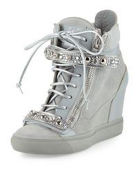Giuseppe Zanotti - Gray Tiana Crystal High-top Wedge Sneaker - Lyst