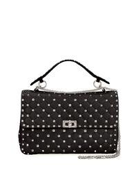 Valentino - Black Rockstud Large Quilted Shoulder Bag - Lyst