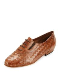 Sesto Meucci Brown Nadir Woven Leather Oxford