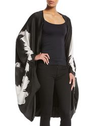 Urban Zen - Black Splash-flower Silk Satin Cape-sleeve Poncho - Lyst