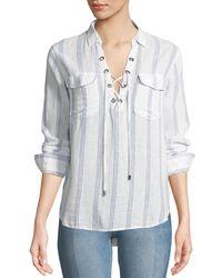 Rails Multicolor Matea Striped Lace-up Long-sleeve Top