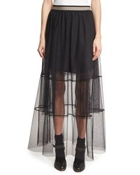 73adbc1bac Brunello Cucinelli. Women's Black Sheer Tiered Tulle Maxi Skirt With Contrast  Waist