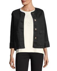 Joan Vass - Black 3/4-sleeve Denim Jacket - Lyst