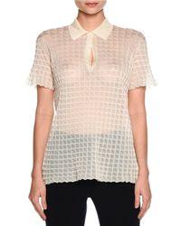Giorgio Armani - White Sheer Windowpane Polo Shirt - Lyst