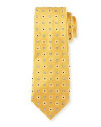 Kiton Metallic Woven Square Silk Tie for men