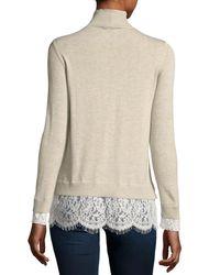 Joie | Natural Fredrika Wool-blend Turtleneck Sweater W/ Lace Hem | Lyst