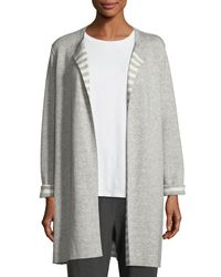 Eileen Fisher - Gray Organic Cotton Cashmere Reversible Cardigan - Lyst