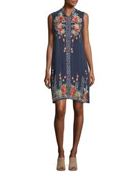 Johnny Was Blue Basille Georgette Embroidered Tunic Dress