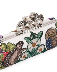 Alexander McQueen White Woodland Embroidered Knuckle Box Clutch Bag