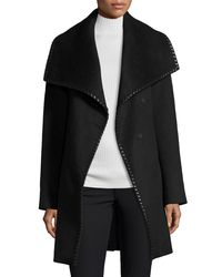 Elie Tahari - Black Wool-blend Wrap Coat W/ Whipstitched Leather Trim - Lyst