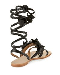 Tory Burch - Brown Blossom Leather Gladiator Sandal - Lyst
