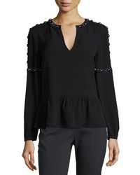 Tory Burch - Black Mezzair Embellished Split-neck Silk Blouse - Lyst