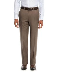 Brioni Brown Men's Wool Straight-leg Twill Trousers for men