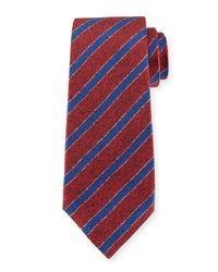Kiton Diagonal-stripe Silk Tie Red for men