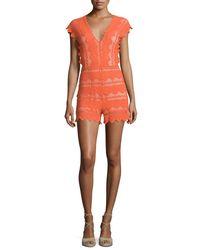 Nightcap Orange Antoinette Cap-sleeve Lace Romper