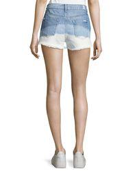 7 For All Mankind - Blue High-waist Cutoff Shorts - Lyst