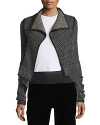 Rick Owens Black Structured Knit Wrap Jacket