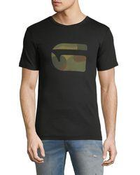 G-Star RAW Black Mai Slim Camo-logo T-shirt for men