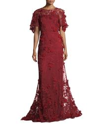 David Meister - Red 3-d Floral Short-sleeve Evening Gown - Lyst