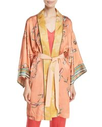 Forte Forte Orange Italian Riviera Printed Silk Satin Kimono