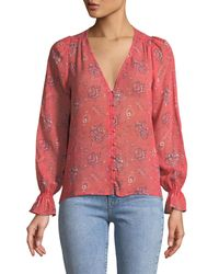 Joie Pink Bolona B Long-sleeve Silk Button-front Top