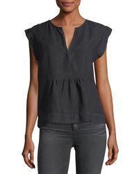 AG Jeans Black Trista Split-neck Cap-sleeve Denim Top