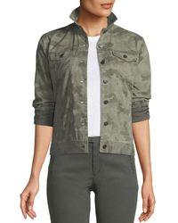 ATM Green Button-down Camo-print Stretch-cotton Denim Jacket