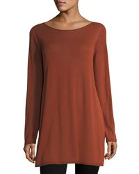 Eileen Fisher - Brown Long-sleeve Seamless Knit Ballet-neck Tunic - Lyst