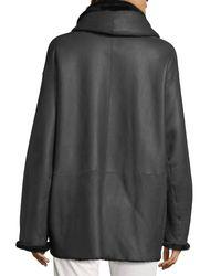 Vince | Black Shawl Collar Reversible Shearling Coat | Lyst
