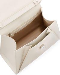 Akris - White Alba Framed Structured Calfskin Top Handle Bag - Lyst