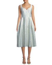 JILL Jill Stuart Blue Virginia Sweetheart Jacquard Midi Dress
