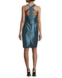 THEIA - Blue Sleeveless Liquid-glass Cocktail Dress - Lyst