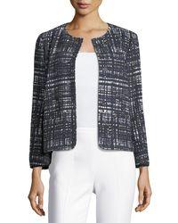 ESCADA - Blue Weave-print Collarless Jacket - Lyst