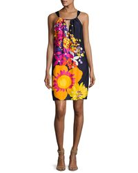 Trina Turk - Yellow Roe Halter-neck Floral-print Shift Dress - Lyst