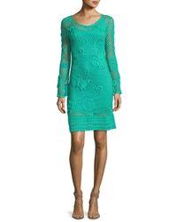 Trina Turk | Green Cottonwood Long-sleeve Crochet Sweaterdress | Lyst